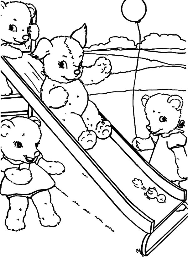 peters friends pray coloring page holidays teddy bear and friends playing slide coloring pray peters friends page coloring