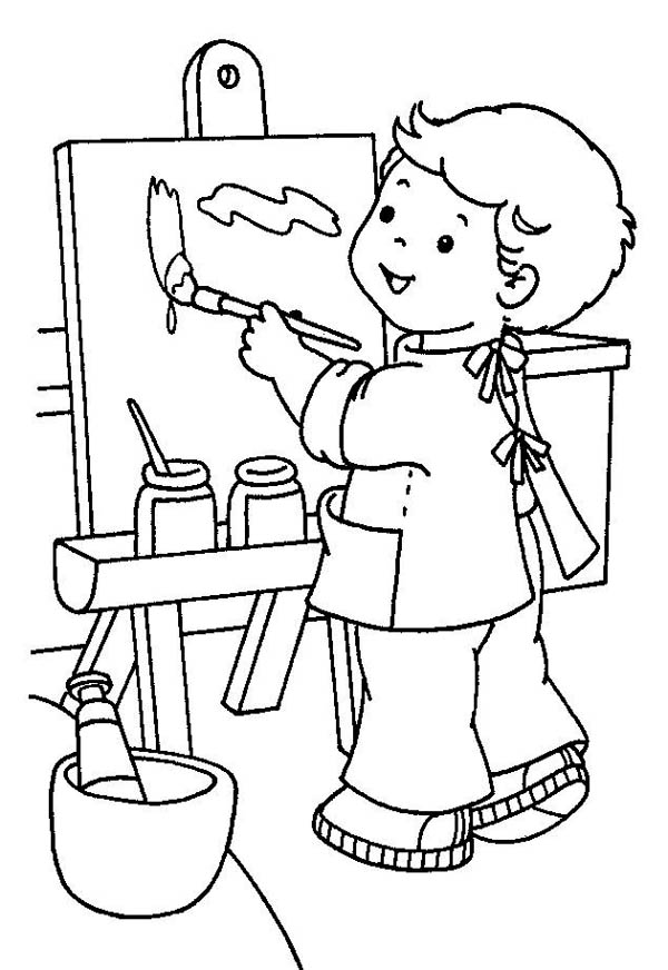 picture for kid painting little painter in kindergarten coloring page coloring sky kid picture for painting