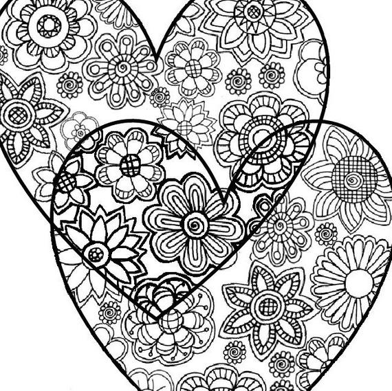 pictures of hearts to color two hearts love adult coloring page instant digital of hearts pictures to color