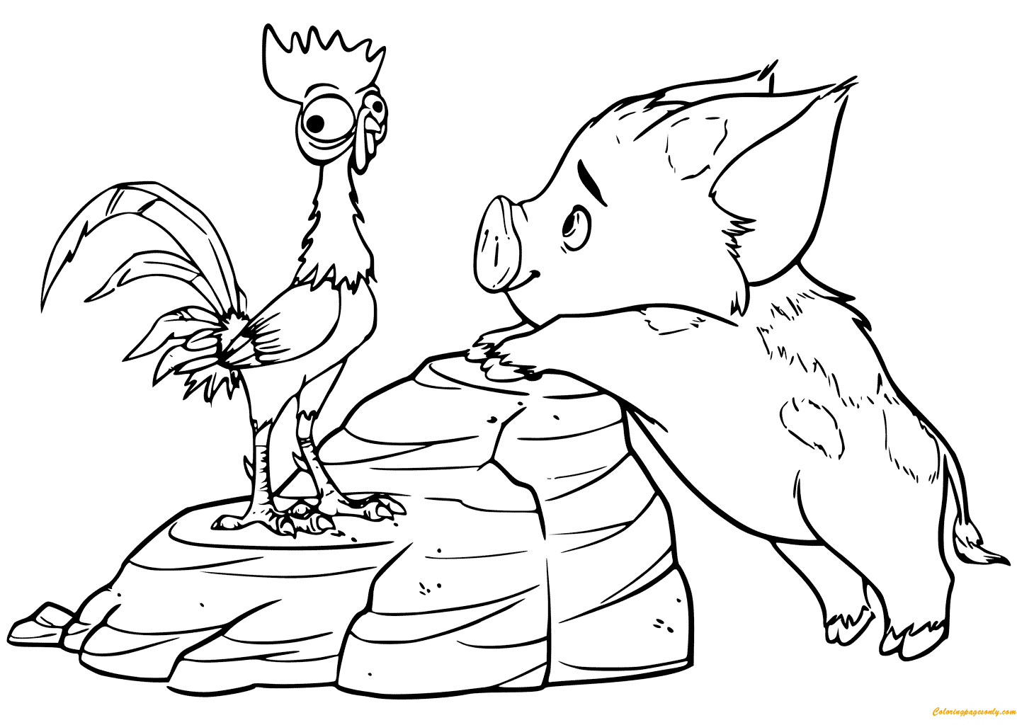 pig from moana coloring page the heihei rooster on the pig pua back moana coloring pig coloring from page moana
