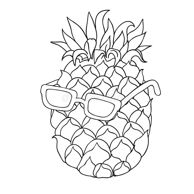 pineapple with sunglasses coloring page happy smiling pineapple character stock vector image with coloring pineapple sunglasses page