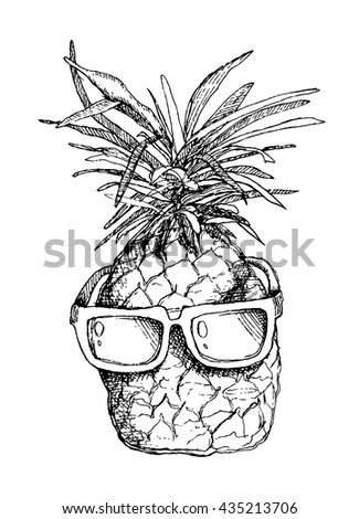 pineapple with sunglasses coloring page pineapple line drawing vector images over 820 sunglasses pineapple page coloring with