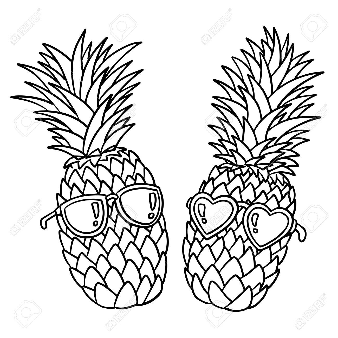 pineapple with sunglasses coloring page vector illustration of hand drawn stock vector page sunglasses with coloring pineapple