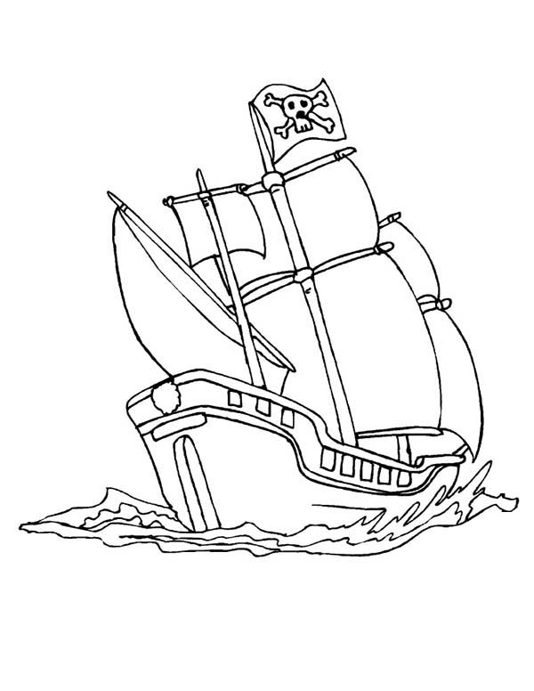 pirate ship to color a pirate ship schooner in the wave coloring page kids color pirate ship to