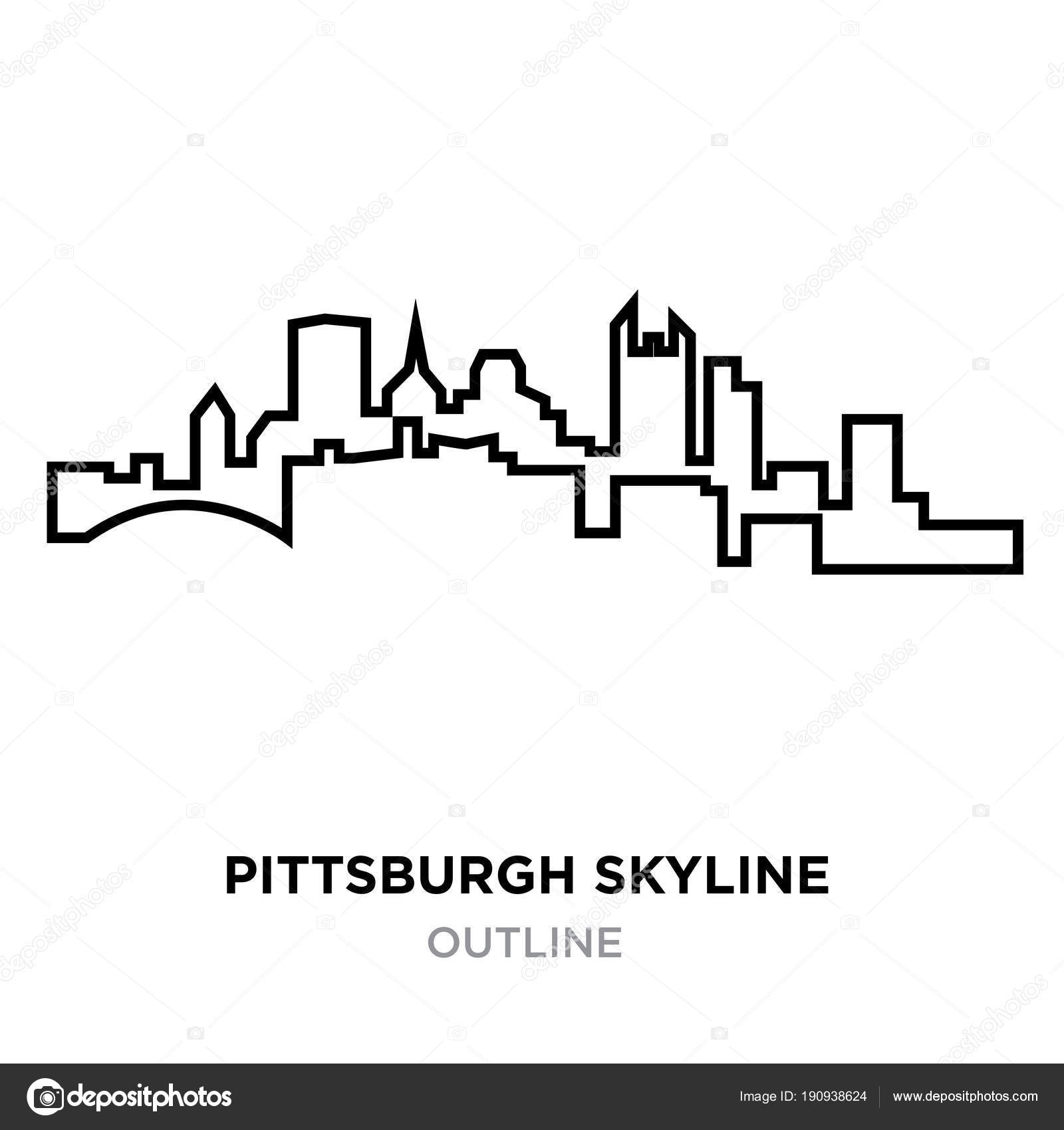 pittsburgh skyline outline downtown pittsburgh illustrations royalty free vector skyline outline pittsburgh