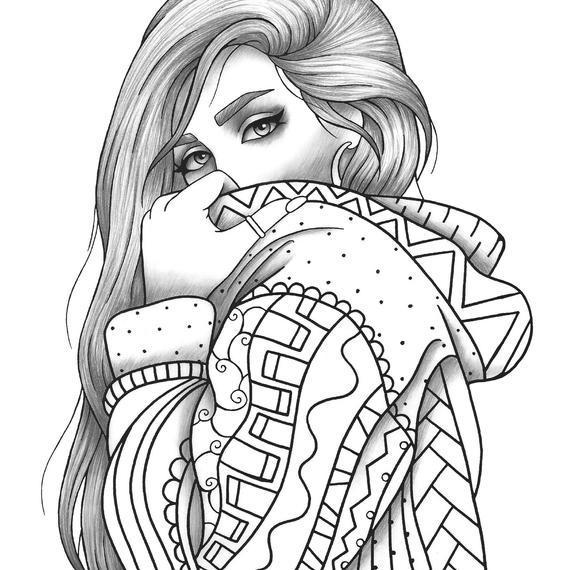 printable girl coloring pages adult coloring page girl portrait and clothes colouring girl printable pages coloring