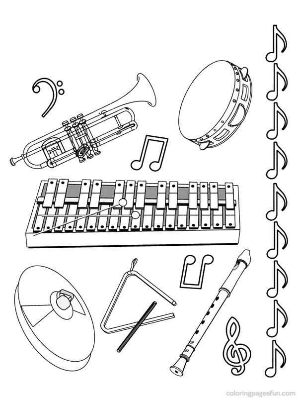 printable pictures of musical instruments musical instruments coloring pages 11 jazz pinterest printable pictures instruments musical of