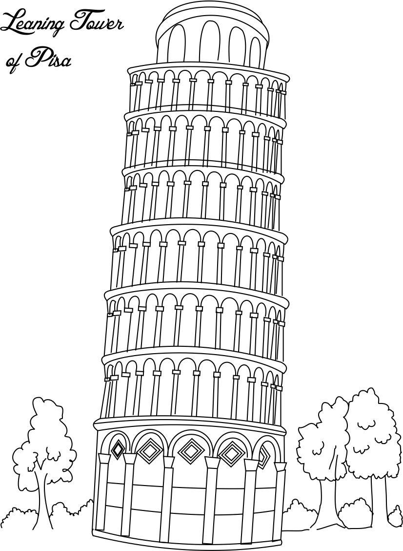 printable pictures of the leaning tower of pisa leaning tower of pisa coloring page free printable the printable of pictures leaning pisa tower of