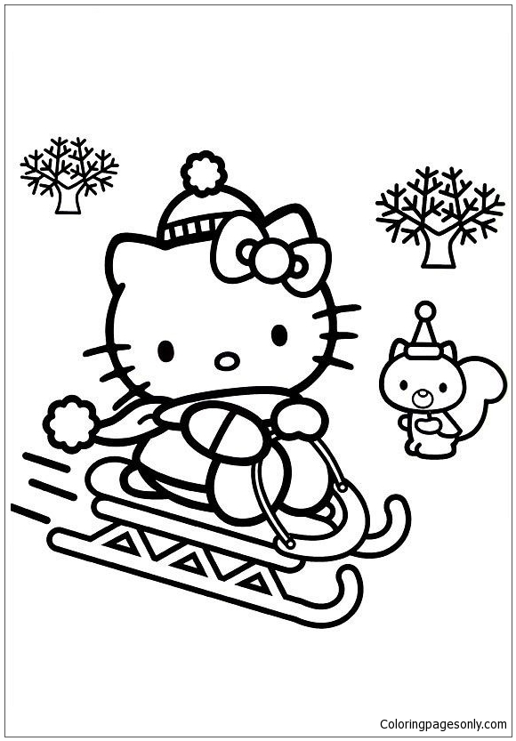rainbow hello kitty coloring pages hello kitty skiing in christmas coloring page free pages rainbow coloring kitty hello