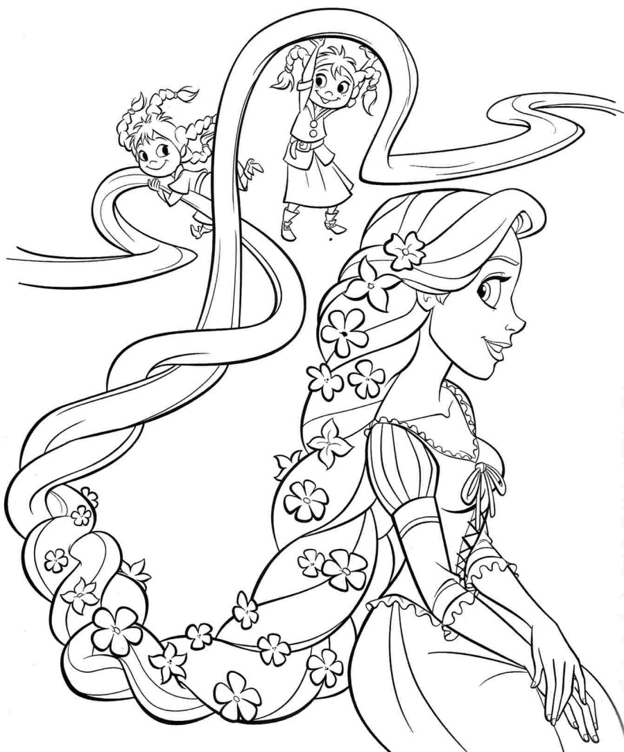 rapunzel colour in tangled coloring pages 2 disneyclipscom rapunzel in colour