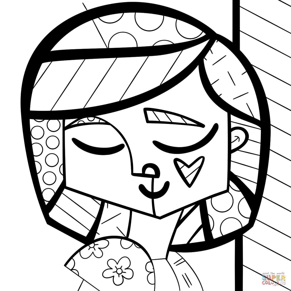 romero britto coloring pages mona cat by romero britto coloring page from romero britto romero britto pages coloring