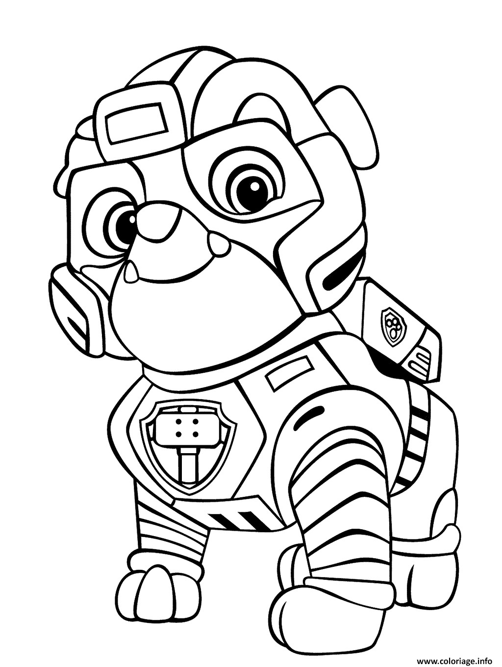 rubble paw patrol coloriage strong rubble mighty pups dessin paw rubble patrol