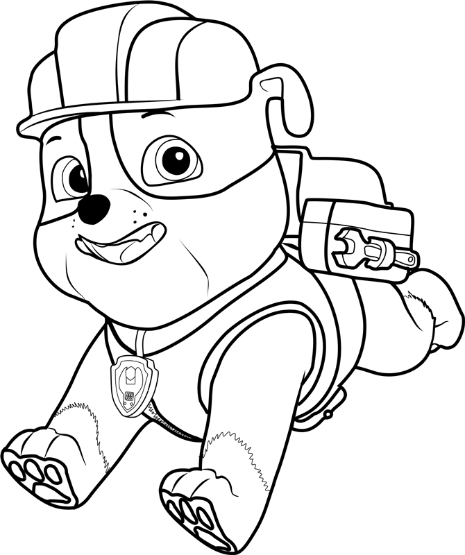 rubble paw patrol rubble running coloring page free printable coloring rubble patrol paw