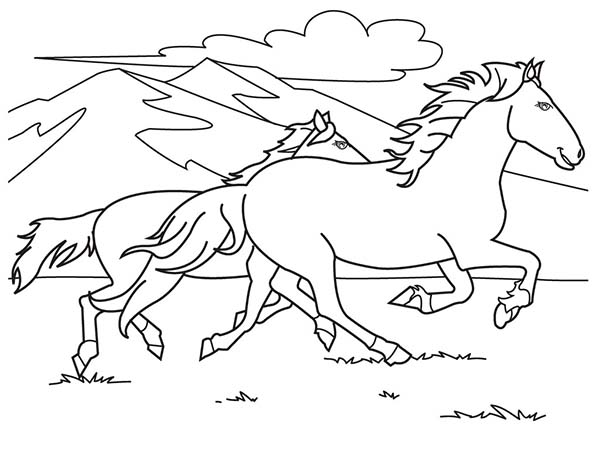 running horse coloring pages two horses running on the hill coloring page download running horse coloring pages