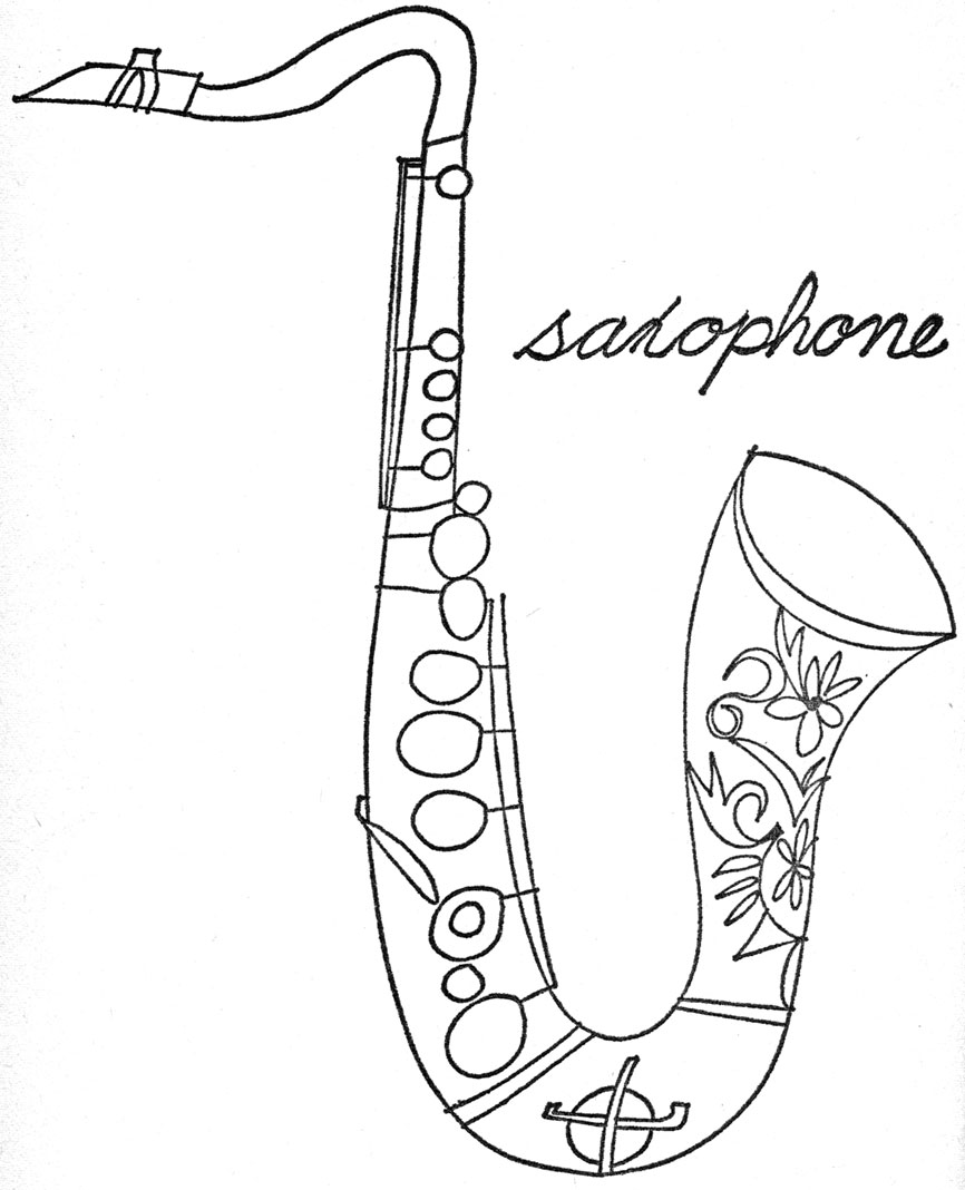 saxophone coloring pages coloring pages saxophone and coloring on pinterest saxophone coloring pages