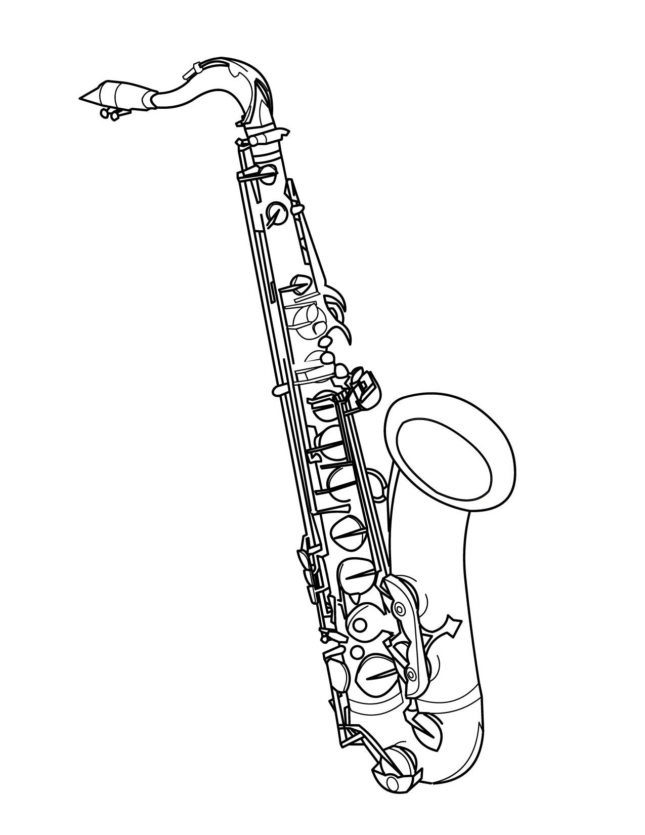 saxophone coloring pages saxophone coloring page free printable coloring pages coloring pages saxophone