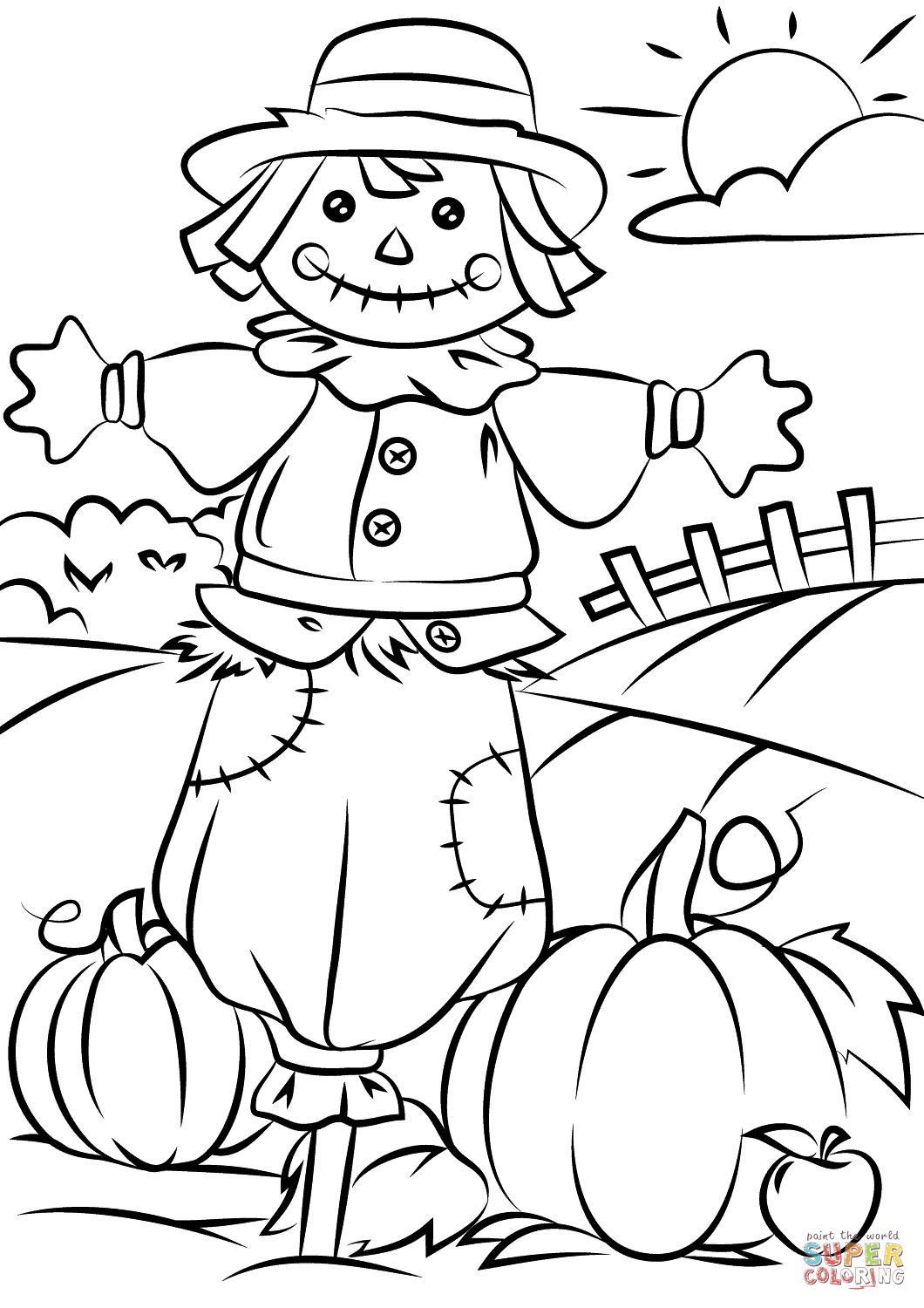 scarecrow coloring pages scarecrow coloring page at getcoloringscom free coloring scarecrow pages