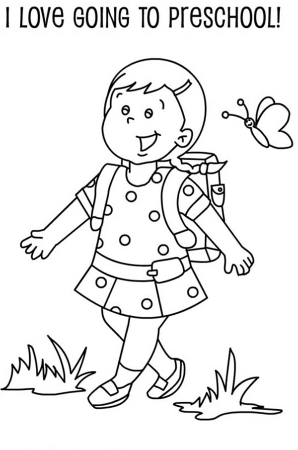 school girl coloring pages a preschool girl student on her first day of school pages coloring girl school