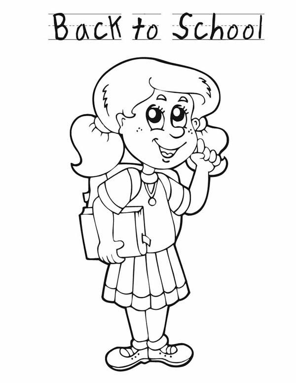 school girl coloring pages a young girl student is very happy for the first day of girl pages coloring school