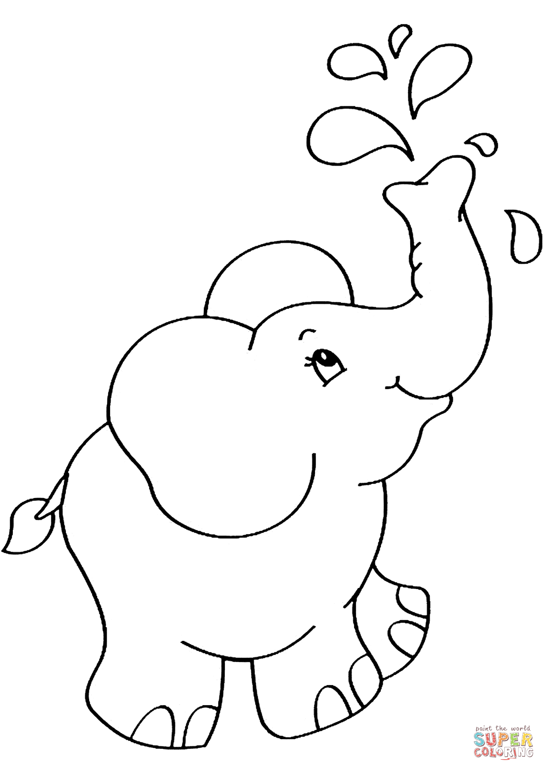 simple baby elephant coloring pages cute little elephant bathing elephant coloring page baby coloring simple elephant pages