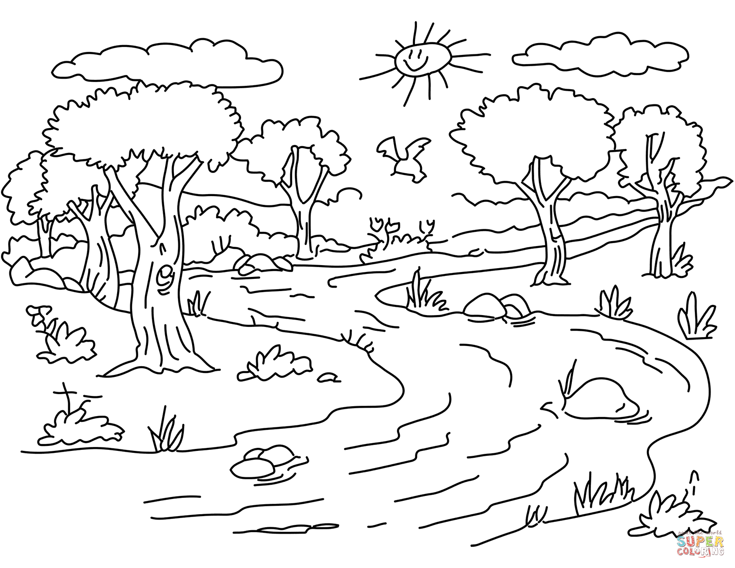 simple nature coloring pages nature drawing for kids at getdrawings free download pages nature simple coloring