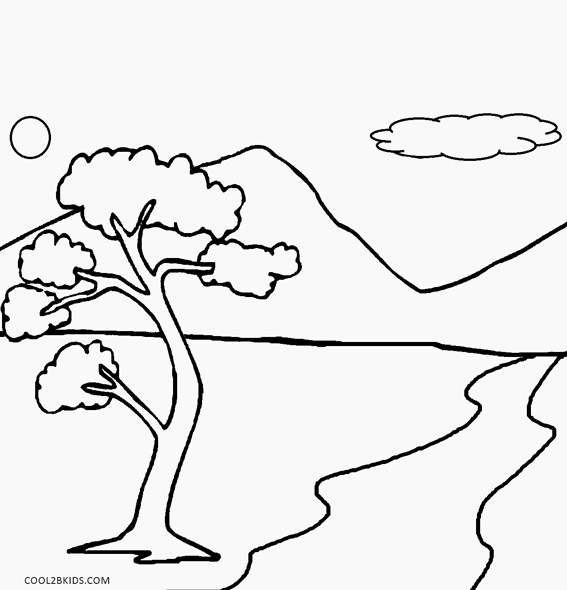 simple nature coloring pages nature drawing for kids at getdrawings free download simple coloring nature pages