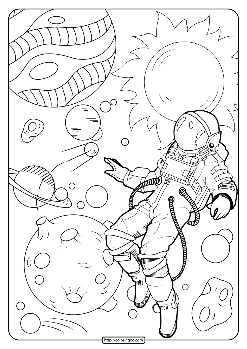 space printable coloring pages free printable astronaut in space pdf coloring page coloring space printable pages