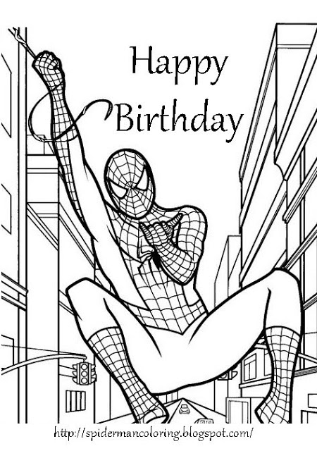 spiderman happy birthday coloring pages spider man coloring pages print out coloringsnet coloring spiderman birthday happy pages