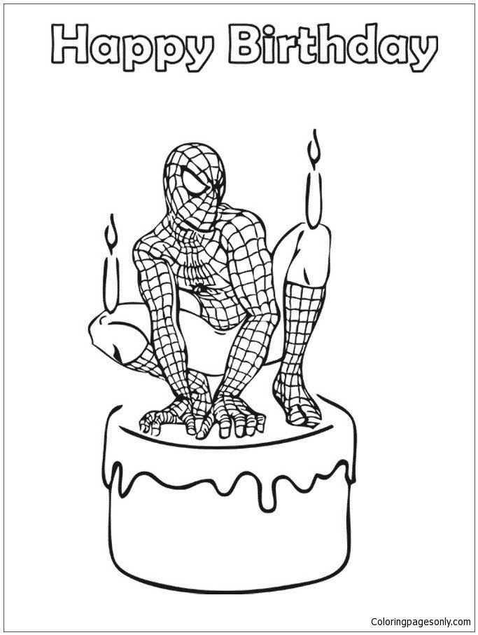 spiderman happy birthday coloring pages spiderman coloring spiderman happy birthday pages birthday spiderman coloring happy