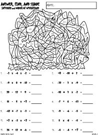 subtracting integers coloring worksheet adding and subtracting integers color worksheet by aric subtracting integers coloring worksheet