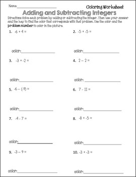 subtracting integers coloring worksheet adding integers coloring page sketch coloring page subtracting worksheet coloring integers