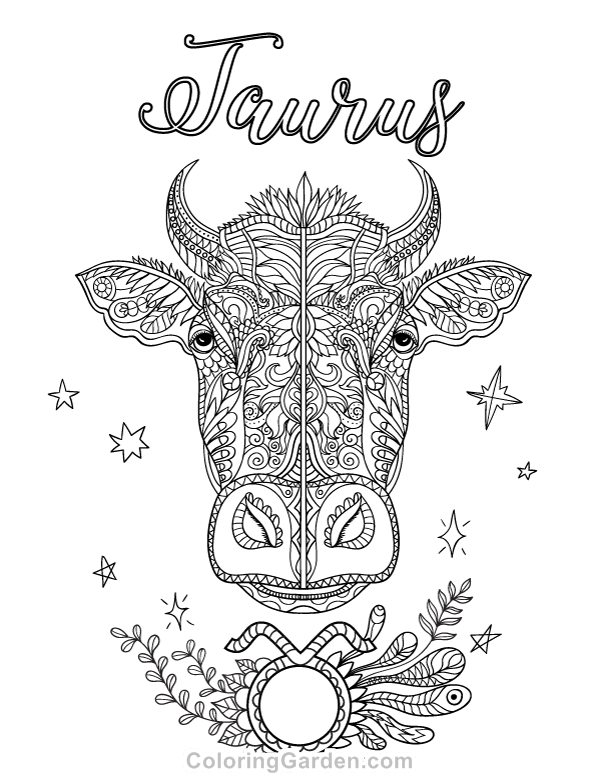 taurus zodiac coloring pages adult coloring page zodiac taurus coloring pages planet coloring zodiac taurus pages