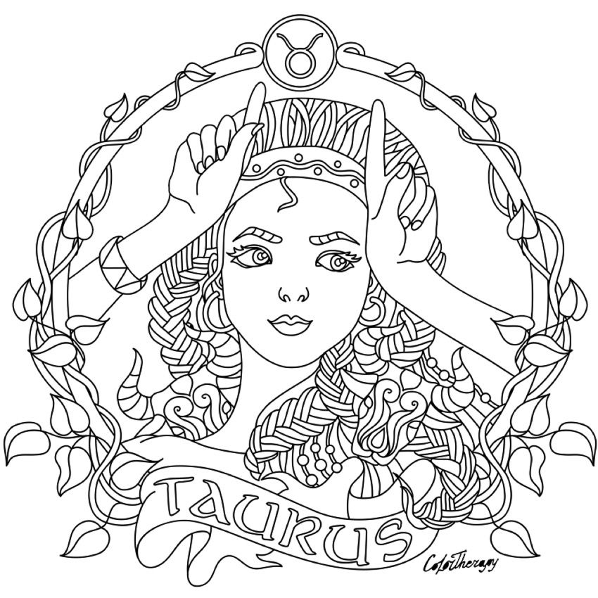 taurus zodiac coloring pages zodiac coloring pages doodle art alley coloring zodiac taurus pages