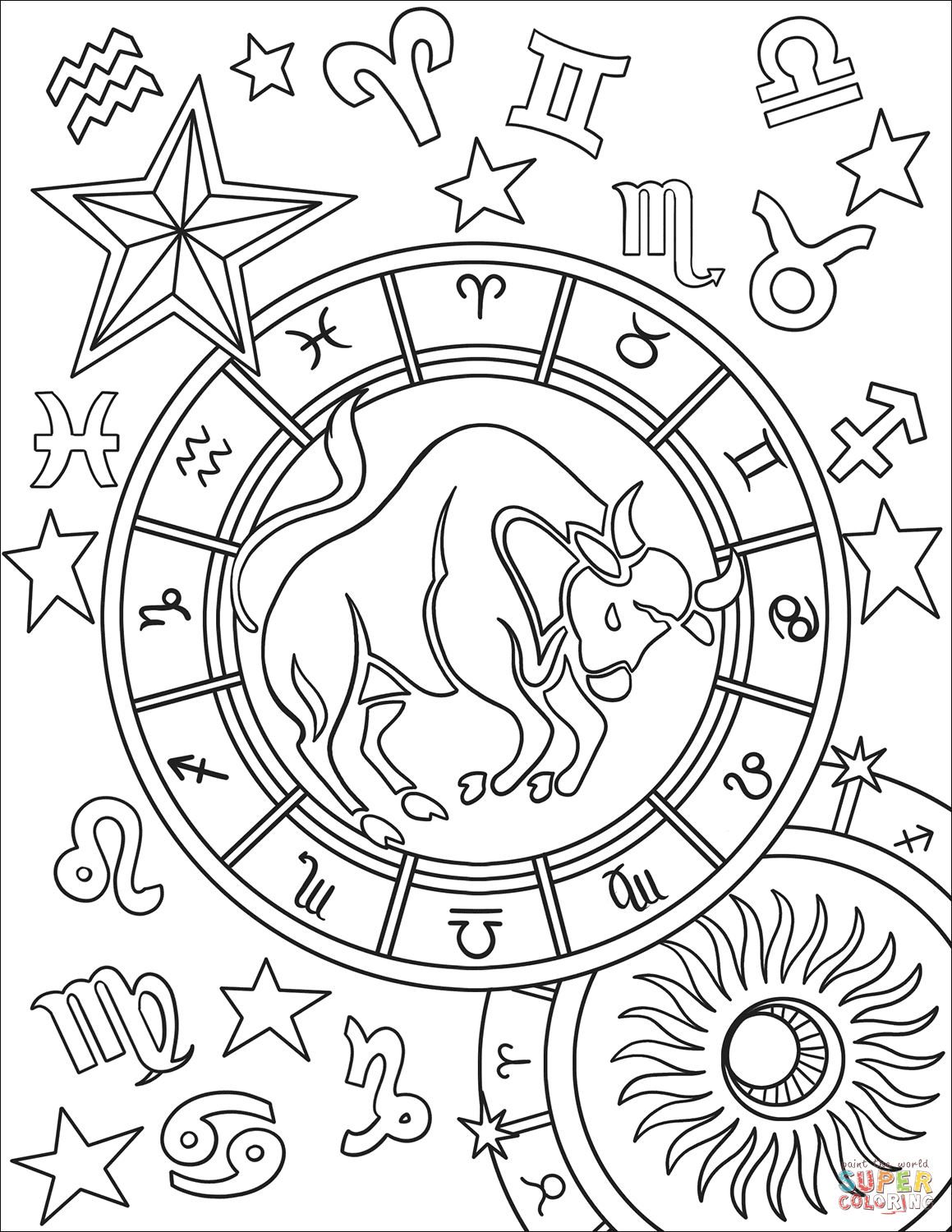 taurus zodiac coloring pages zodiac sign taurus coloring pages getcoloringpagesorg zodiac coloring taurus pages