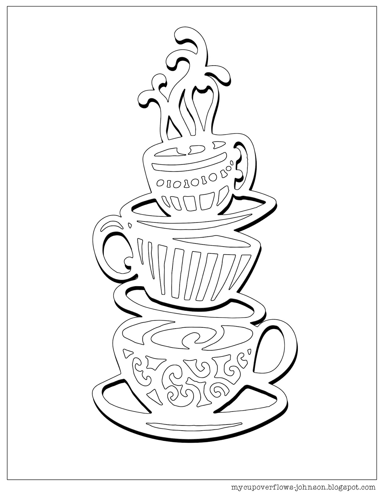 tea cup coloring page my cup overflows tea and coffee page tea coloring cup