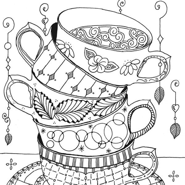 tea cup coloring page stacked teacups enlightened coloring tea cup coloring page
