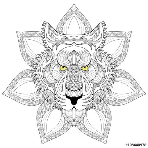 tiger mandala coloring pages tiger head hand drawn doodle style it can be used for coloring tiger mandala pages