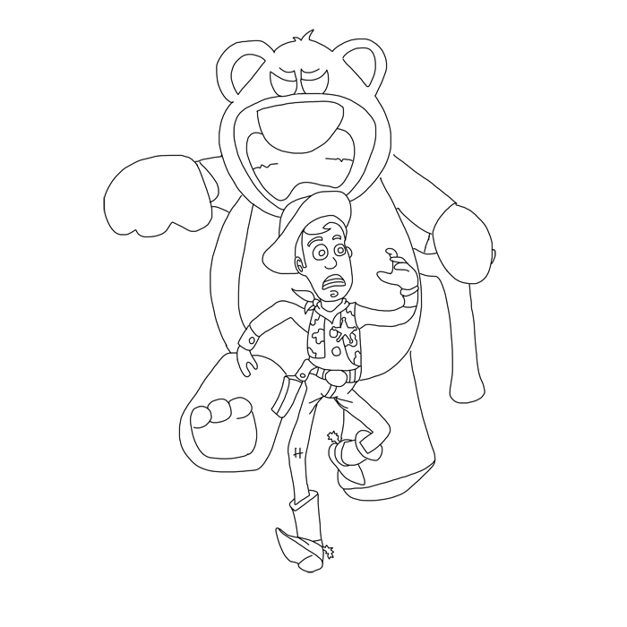 toy story coloring pages lotso woody vs lotso lineart by revan1118 on deviantart pages coloring lotso story toy