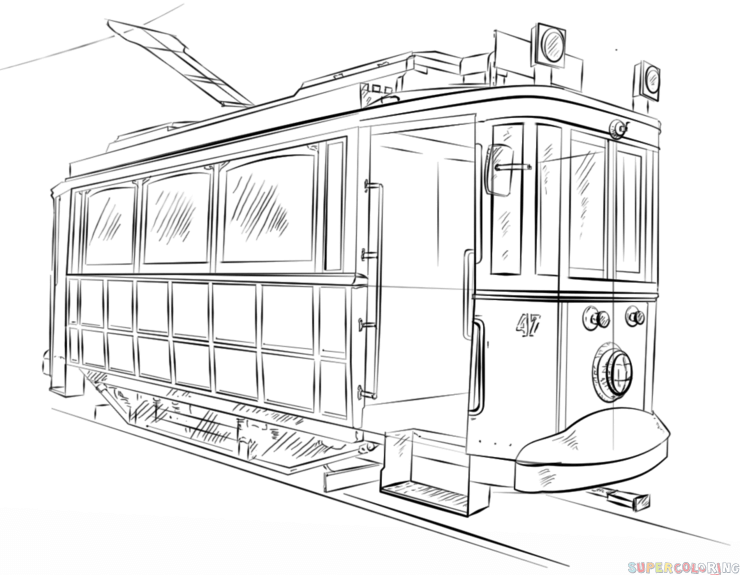 train car coloring pages how to draw a trolley car step by step drawing tutorials coloring car pages train