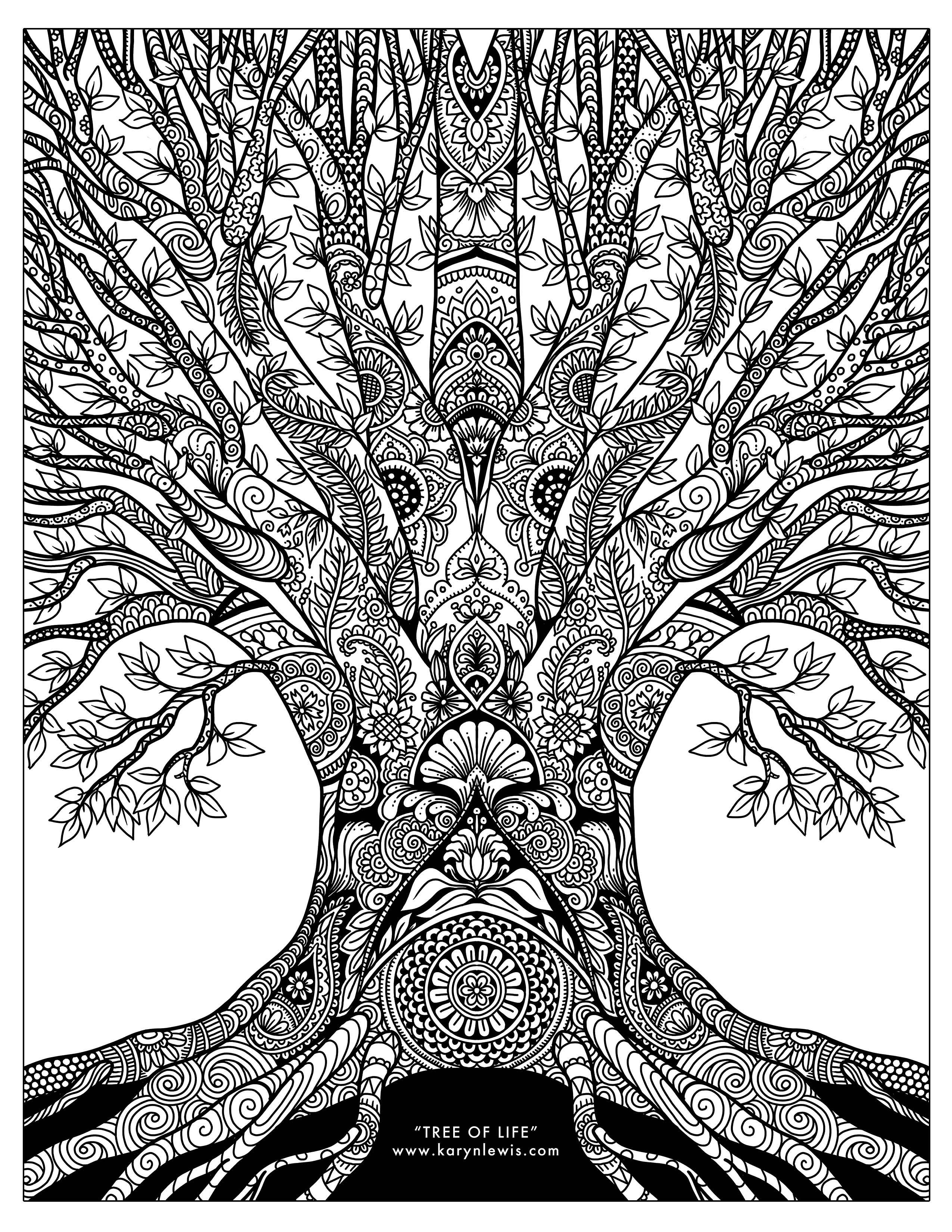 tree with leaves coloring pages quottree of lifequot doodle art free adult coloring page karyn coloring pages with leaves tree