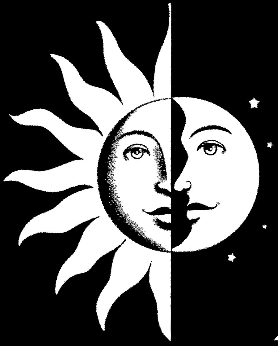 trippy sun and moon sun and moon drawing black and white at paintingvalleycom and trippy moon sun