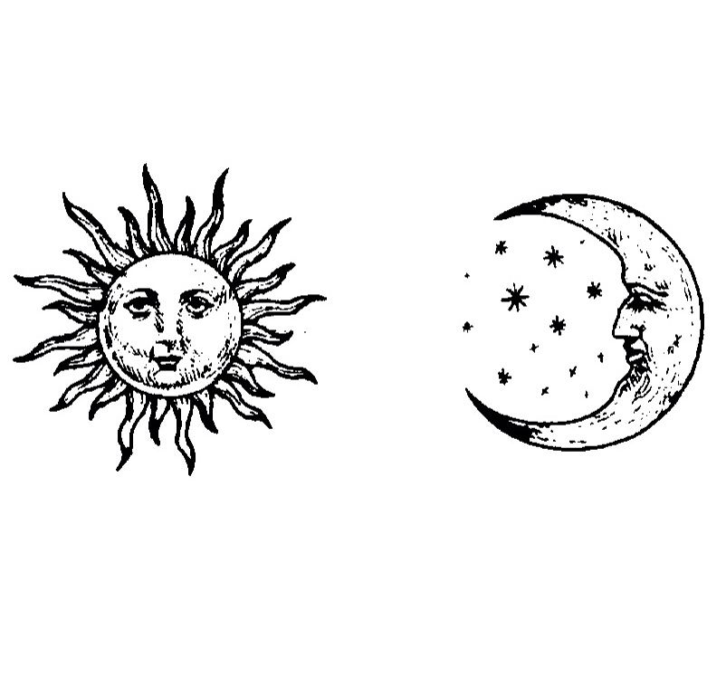 trippy sun and moon sun and moon drawing black and white at paintingvalleycom sun moon and trippy 1 1