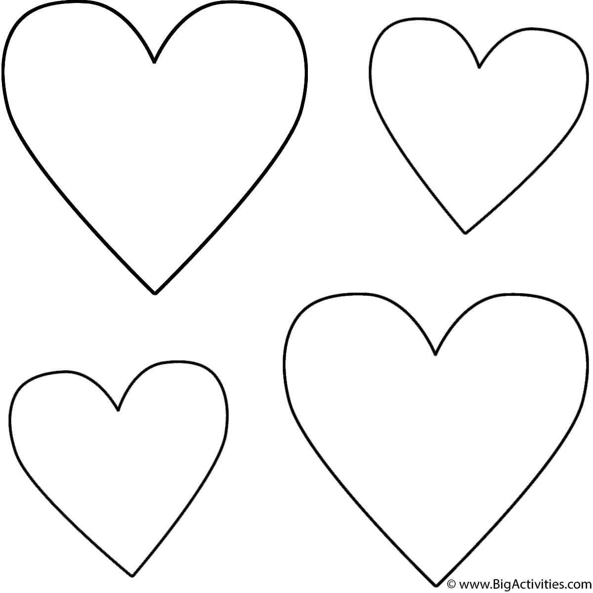 valentines heart coloring pages four hearts coloring page valentine39s day heart valentines pages coloring