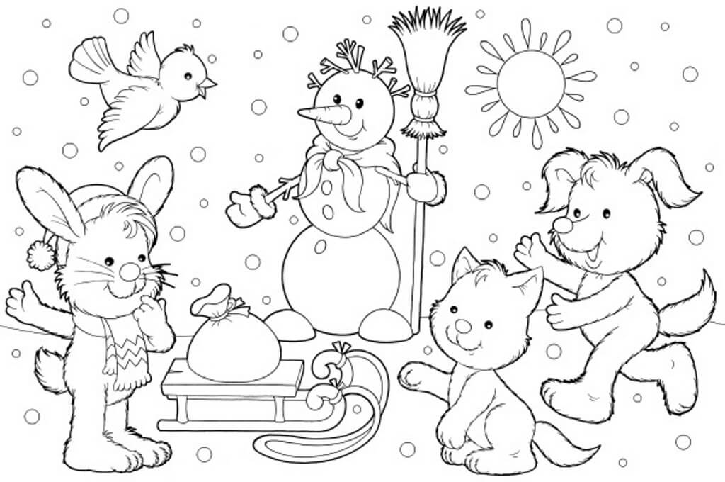 winter animal coloring pages free coloring pages winter coloring pages winter winter coloring animal pages