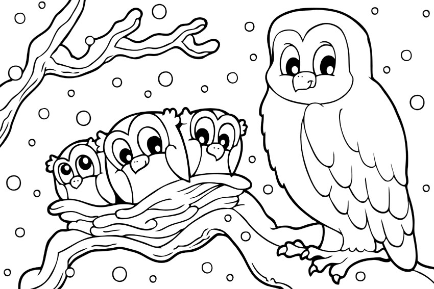winter animal coloring pages winter scenes with cute animals coloring page free animal winter coloring pages