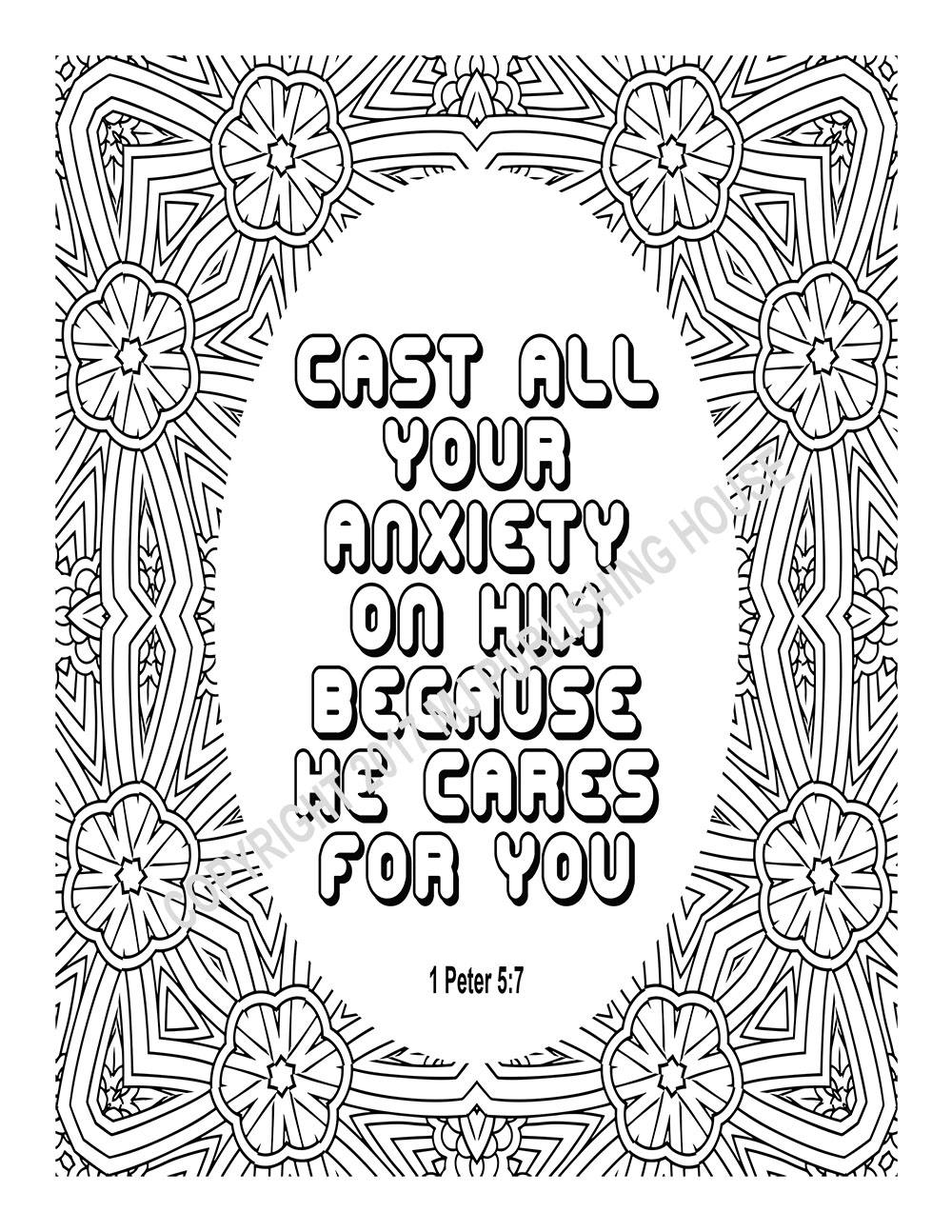 1 peter 5 7 coloring page bible verse coloring page cast all your anxiety on him 1 peter coloring page 5 7
