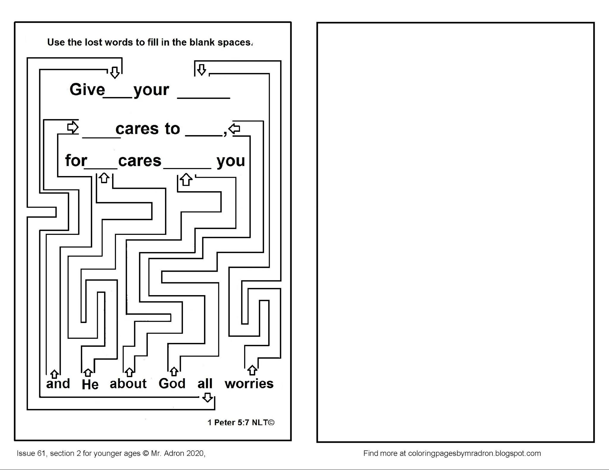 1 peter 5 7 coloring page coloring pages for kids by mr adron 7 coloring peter page 1 5