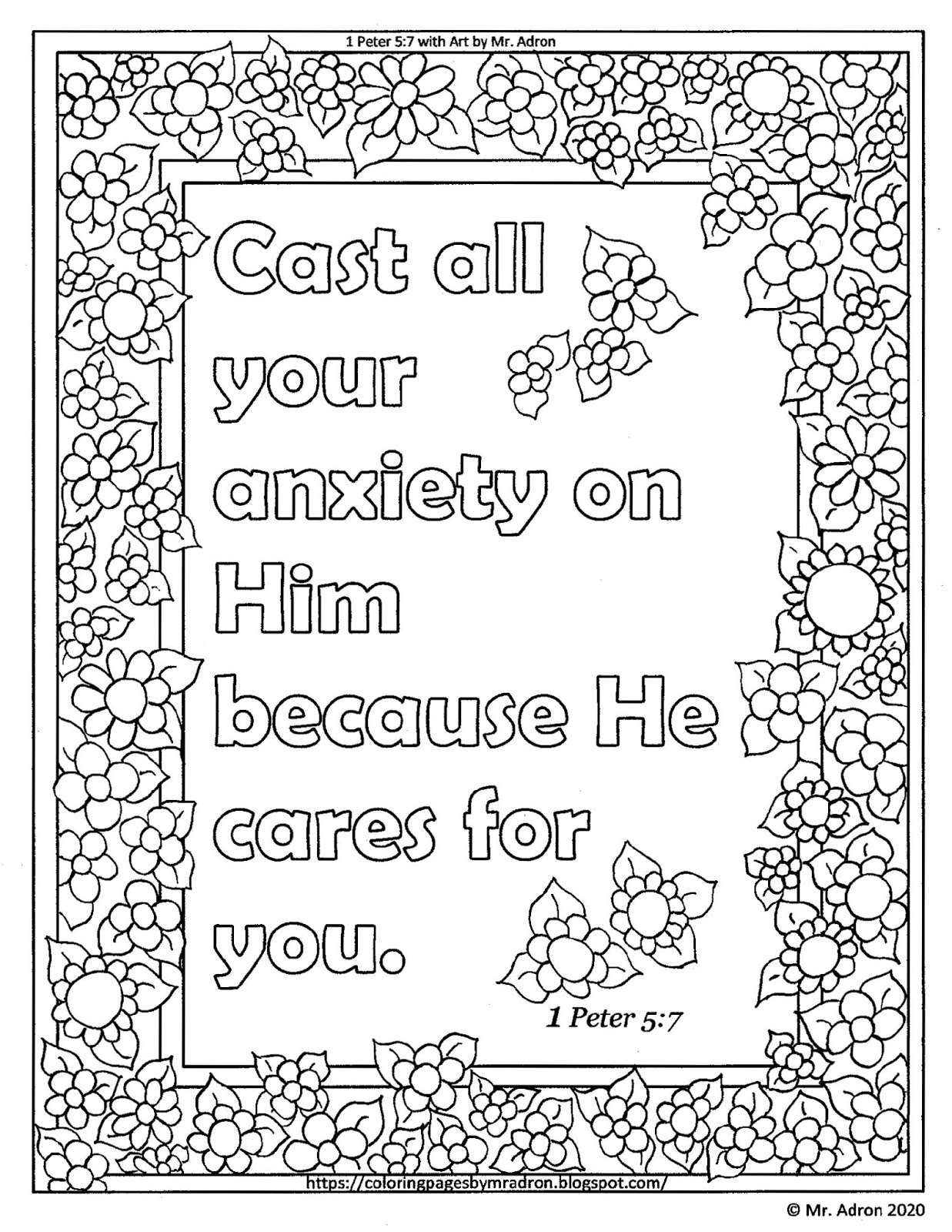 1 peter 5 7 coloring page coloring pages for kids by mr adron free 1 peter 57 7 coloring page peter 5 1