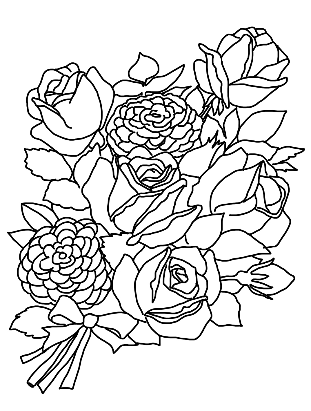 a coloring page of a rose roses flower coloring pages flower coloring pages free a page rose a coloring of