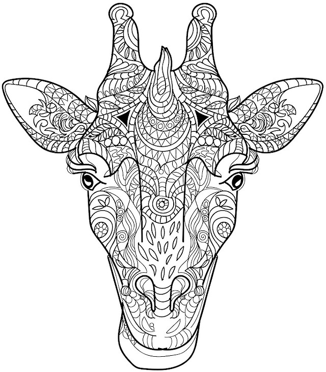 advanced animal coloring pages advanced animal head of a giraffe coloring pages printable animal coloring pages advanced